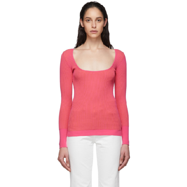 Jacquemus La Maille Rosa Ribbed-knit Sweater In Pink Strip