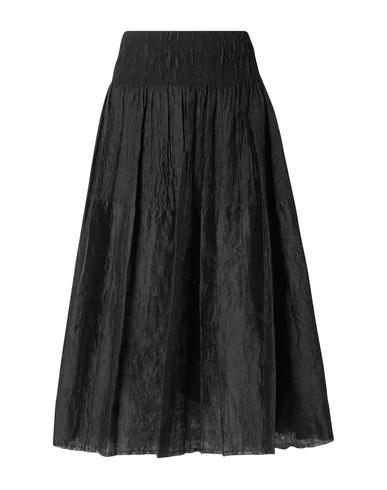 Marques' Almeida Pleated Checked Taffeta Midi Skirt In Black