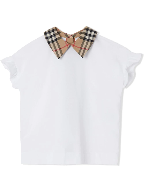 Burberry Teen Vintage Check Detail Ruffled Sleeve Cotton T-shirt In White