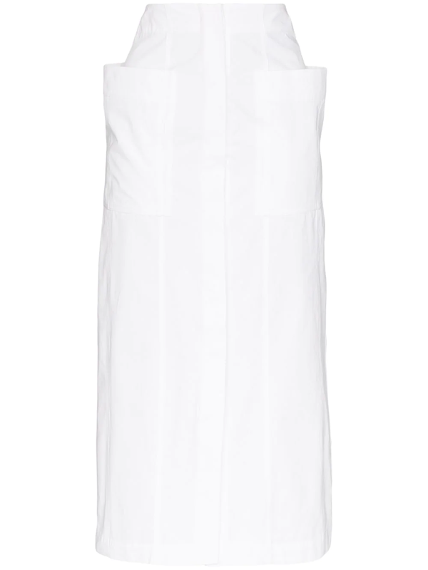 Jacquemus Bastide Cotton-poplin Midi Skirt In White