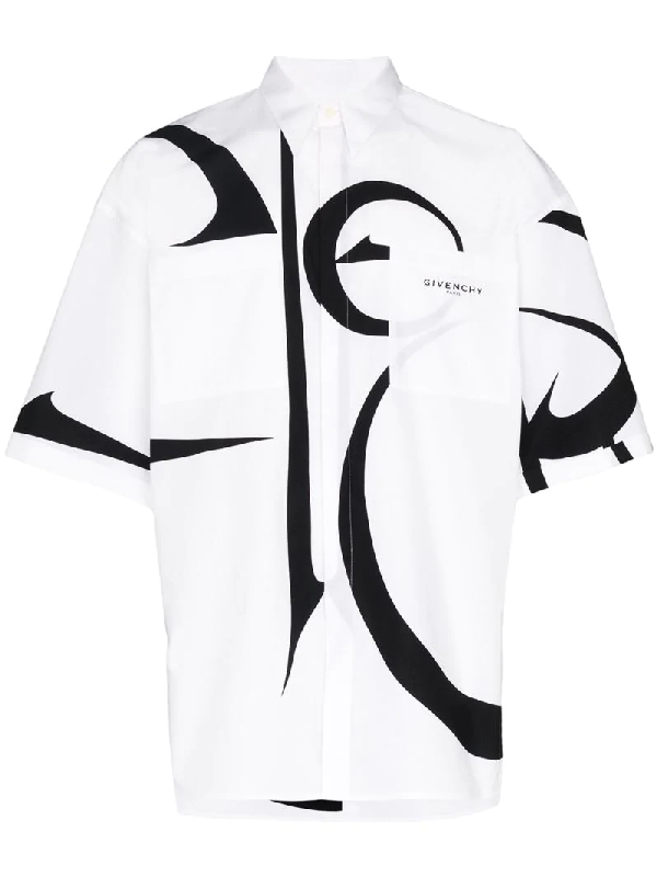 Givenchy Calligraphy-pattern Short-sleeved Shirt In 白色