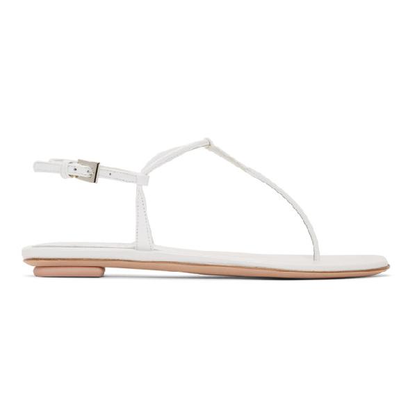 Prada Logo-plaque Leather Flat Toe-post Sandals In F0009 White