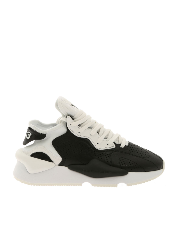 Y-3 Y3 Black And White 'kaiwa' Low Rise Sneakers