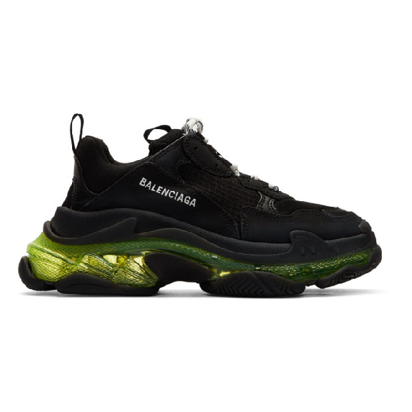 Balenciaga Triple S Clear Sole Leather And Mesh Trainers In 1047blkylw