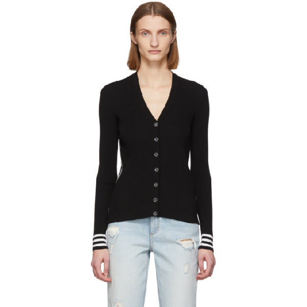 Off-white Industrial Ribbed Cardigan In Black