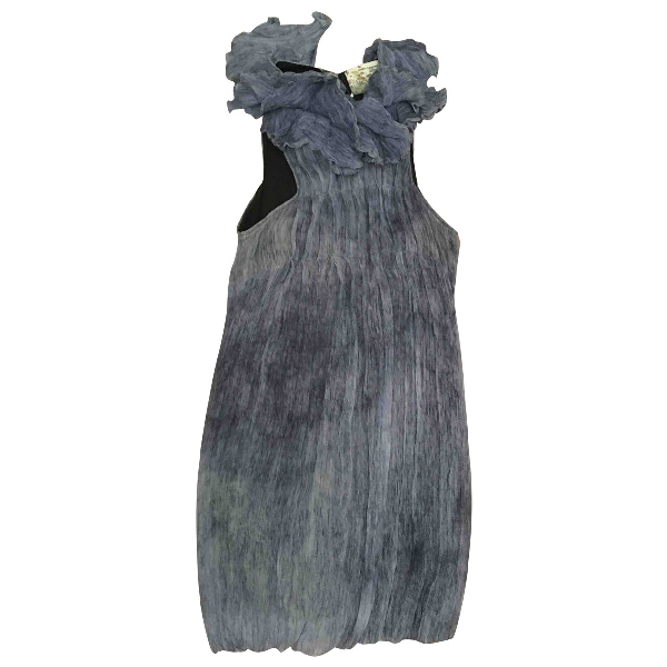 Daniele Alessandrini Blue Silk Dress
