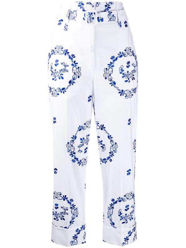 Simone Rocha Women's Embroidered Cotton Poplin Paperbag Trousers In White