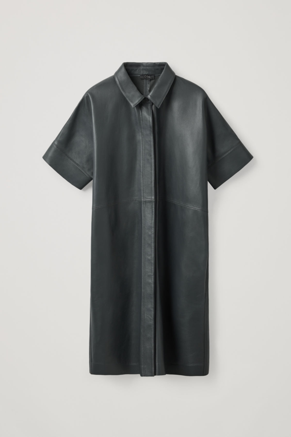 Cos Leather Shirt Dress In Grey