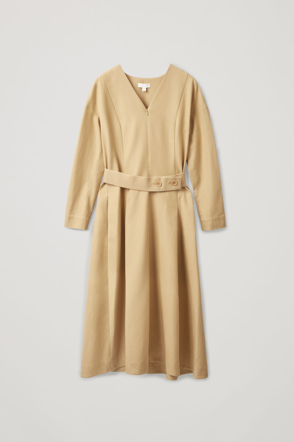 Cos Belted Dress With Pleats In Beige
