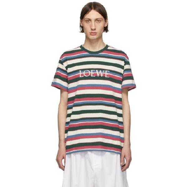 Loewe Gestreiftes T-shirt Mit Stickerei In Multicolor