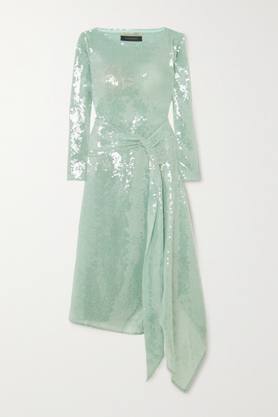 Roland Mouret Angelo Scoop-neck Embellished Maxi Dress In Mint