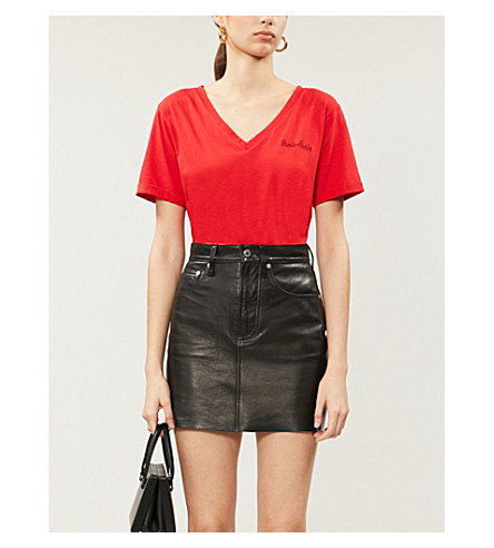 Claudie Pierlot Paris-embroidered Cotton-blend Jersey T-shirt In Rouge