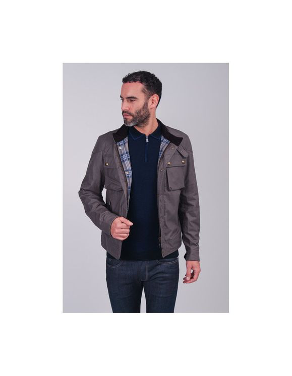Belstaff Racemaster Dark Grey Coated Cotton Jacket In 90116 Duskg