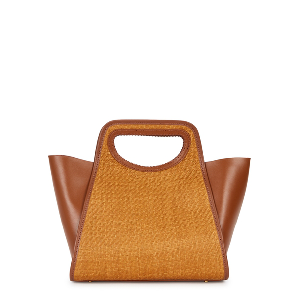 Elleme Cupidon Brown Leather And Raffia Top Handle Bag