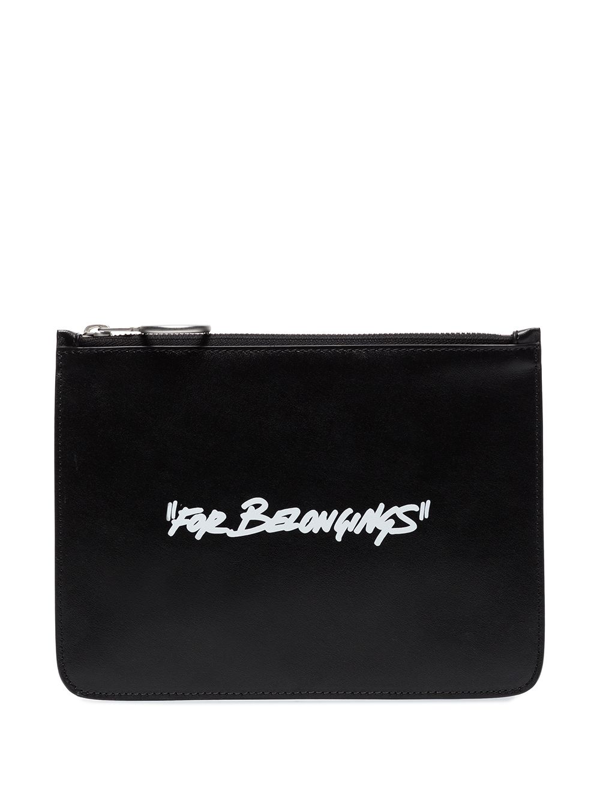Off-white Quote Black Leather Clutch