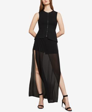 Bcbgmaxazria Stretch Front-zip Sleeveless Top In Black