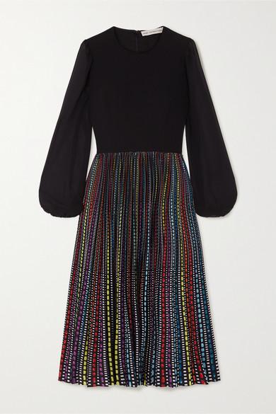 Mary Katrantzou Serena Crepe, Chiffon And Printed Satin Midi Dress In Black