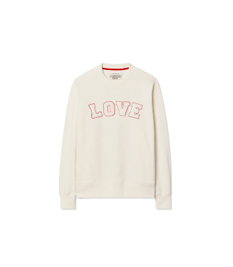 Tory Sport AppliquÉd French Cotton-terry Sweatshirt In Ivory