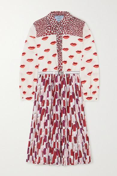 Prada Belted Pleated Printed Crepe De Chine Midi Dress In Red
