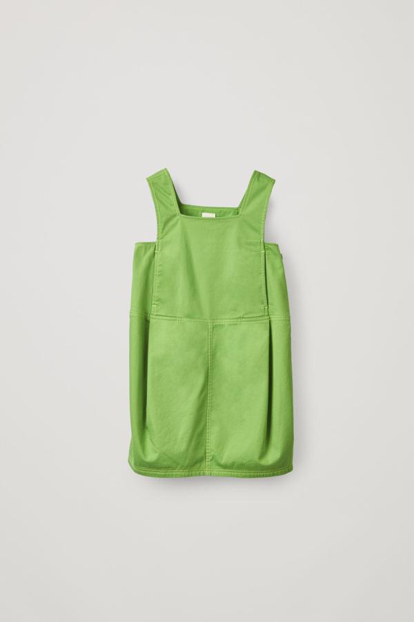 Cos Kids' Organic Cotton Apron Dress In Green