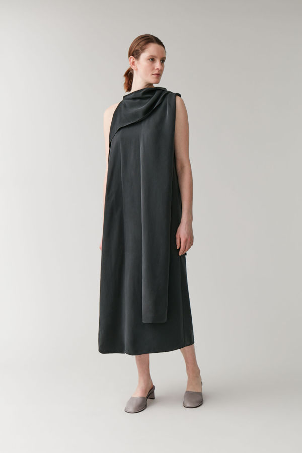 Cos Draped Neck-tie Dress In Black