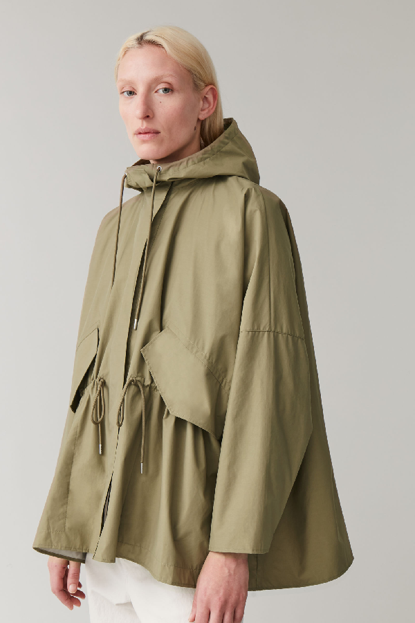 Cos Light Packable Raincoat In Green