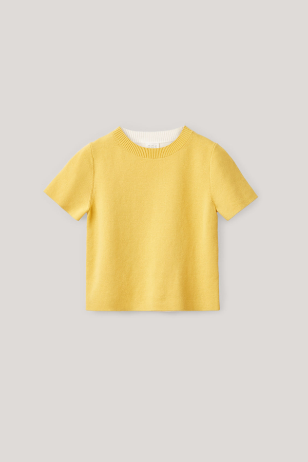 Cos Kids' Two-colour Organic Cotton Top In Yellow