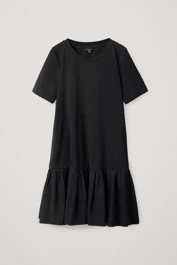 Cos Gathered Panel Cotton Dress In Black