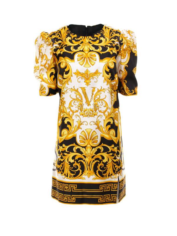 Versace Printed Short Dress In Yellow