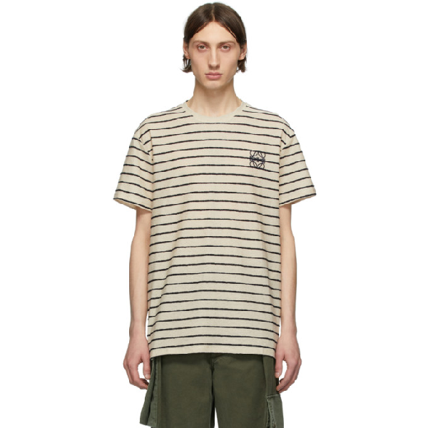 Loewe Anagram-embroidered Striped Cotton T-shirt In 2396 Ecru/n