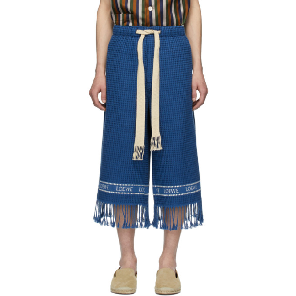 Loewe Fringed Cotton Waffle-piquÉ Cropped-leg Trousers In Navy Blue