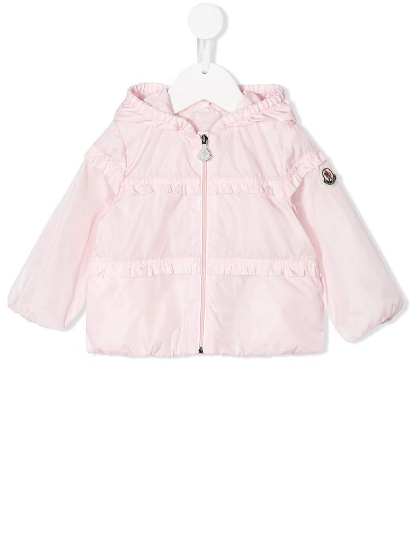 Moncler Babies' Logo Zipped Jacket In Pink