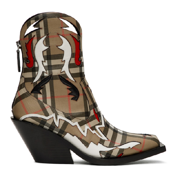 Burberry Topstitch Applique Vintage Check E-canvas Boots
