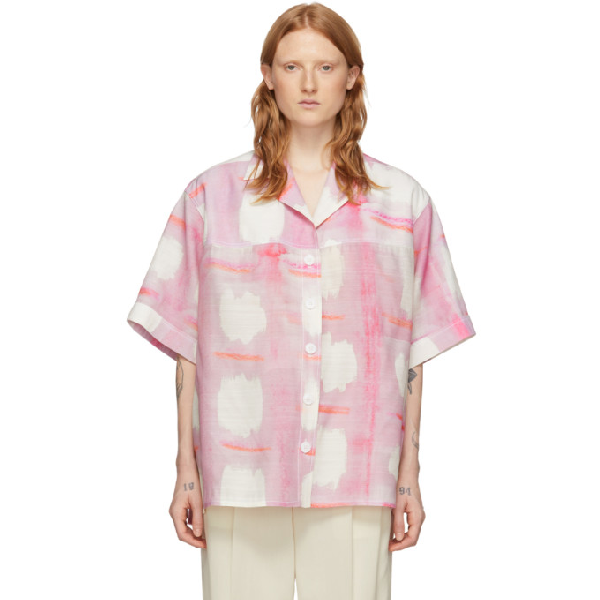 Jacquemus La Chemise Vallena Shirt W/foulard In Print Pink