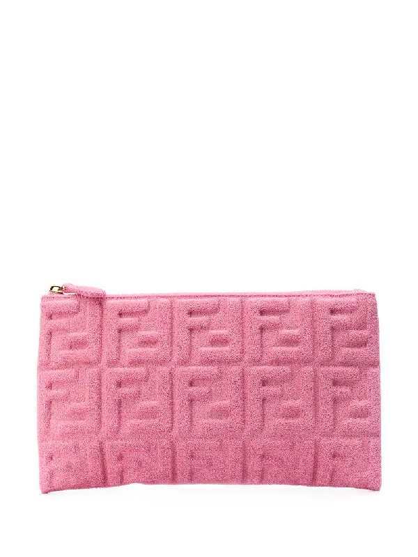 Fendi Large Ff 1974 Embossed Terry Clutch In Pink