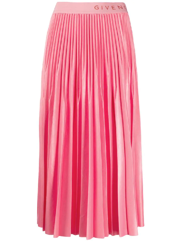 Givenchy Pleated Skirt In Varnished Jersey In Pink