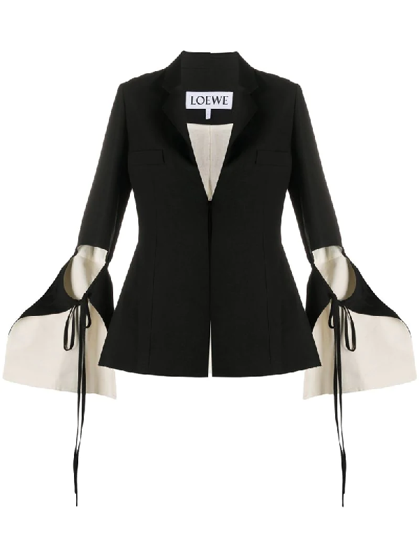 Loewe Linen & Viscose Crepe Jacket W/ Cut Outs In Black