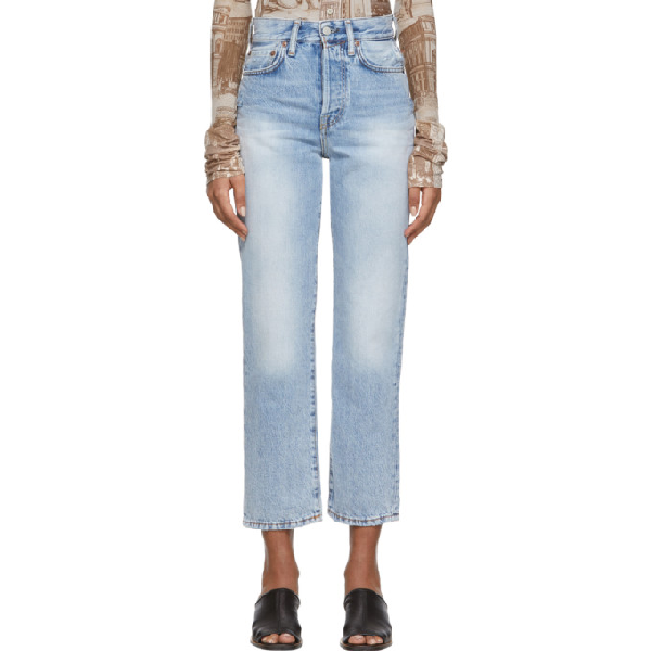 Acne Studios Cropped High-rise Straight-leg Jeans In Lt Blue
