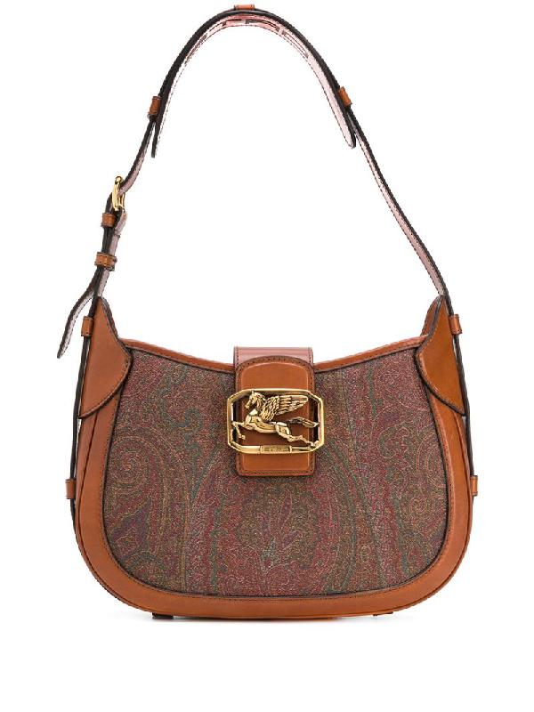 Etro Branded Foldover Shoulder Bag In Brown