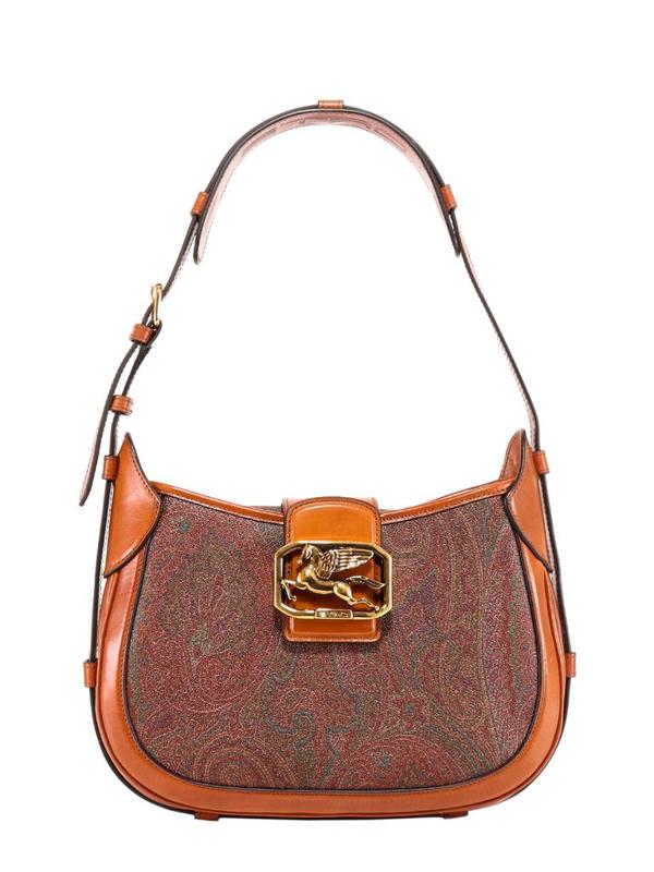 Etro Pegaso Shoulder Bag In Paisley Printed Leather In Multi