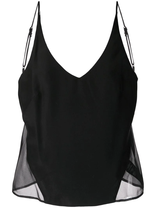 J Brand Lucy Sheer Panel Camisole In Black