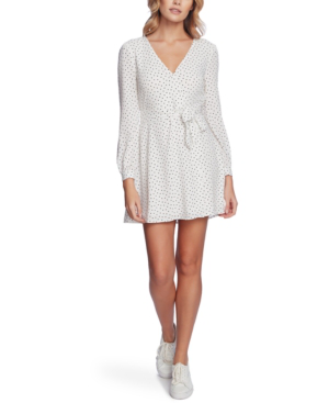 1.state Scatter Dot Wrap Front Long Sleeve Minidress In Soft Ecru