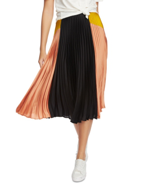 1.state Colorblock Satin Pleated Midi Skirt In Festival Blush