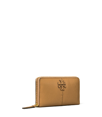 Tory Burch Mcgraw Leather Continental Zip Wallet In Tiramisu