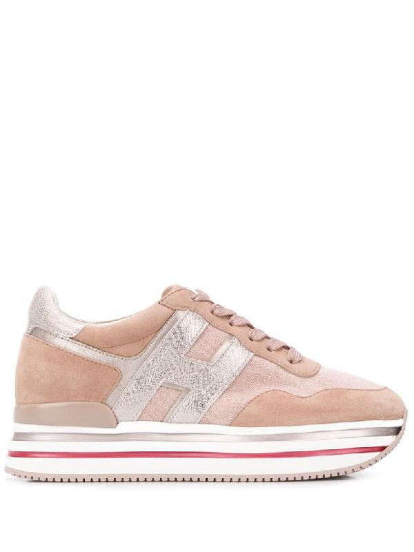 Hogan Panelled Flatform Sneakers In Pink