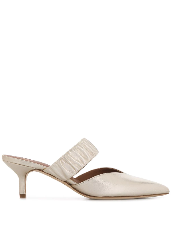 Malone Souliers Matilda Flats In Platinum Leather In Gold
