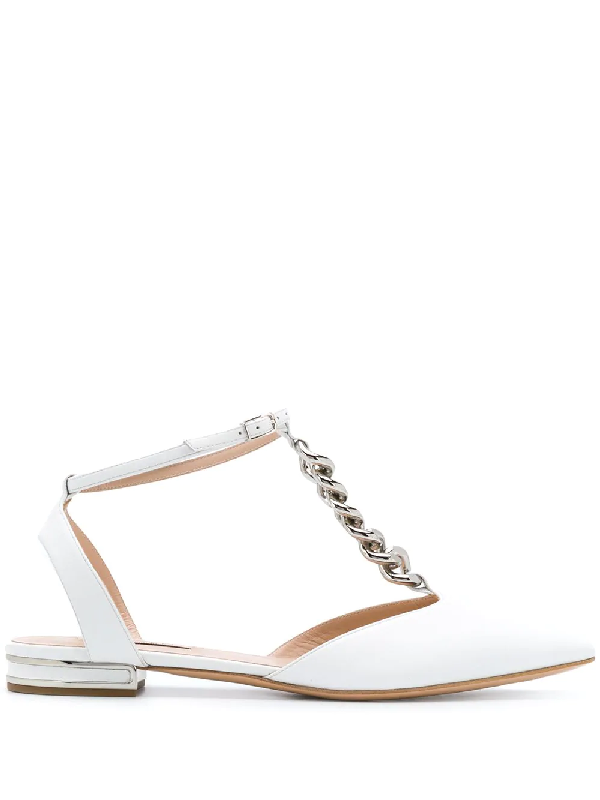 Casadei Unchain Flat Sandal In Leather With Chain Detail In White