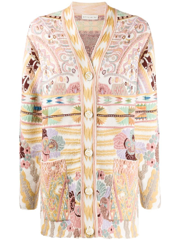 Etro Jacquard Cardigan With Pegaso Buttons In Neutrals