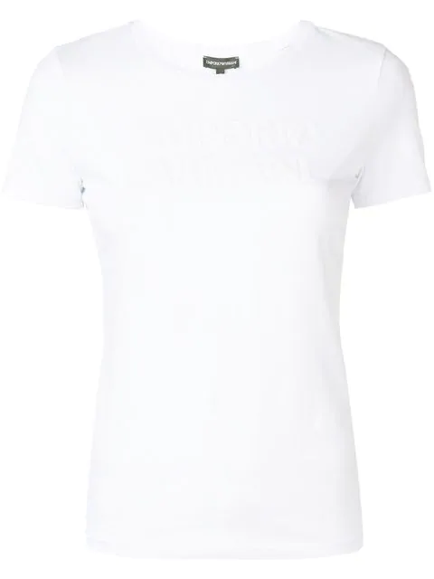 Emporio Armani Short-sleeved T-shirt With Logo Print In White