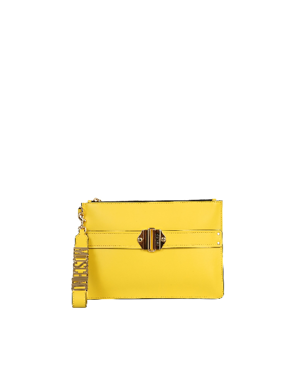 Moschino Pouch With Logo In Yellow